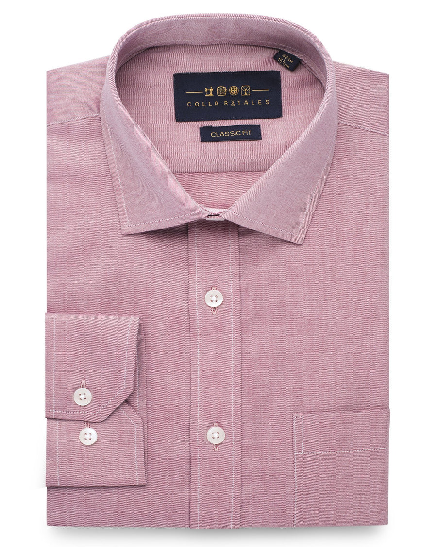 Dress Shirts - Red Cotton Twill Shirt