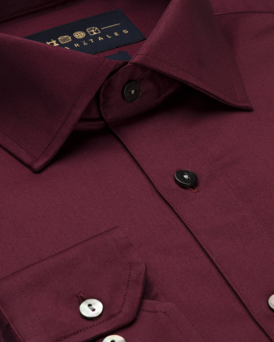 Dress Shirts - Satin - Maroon