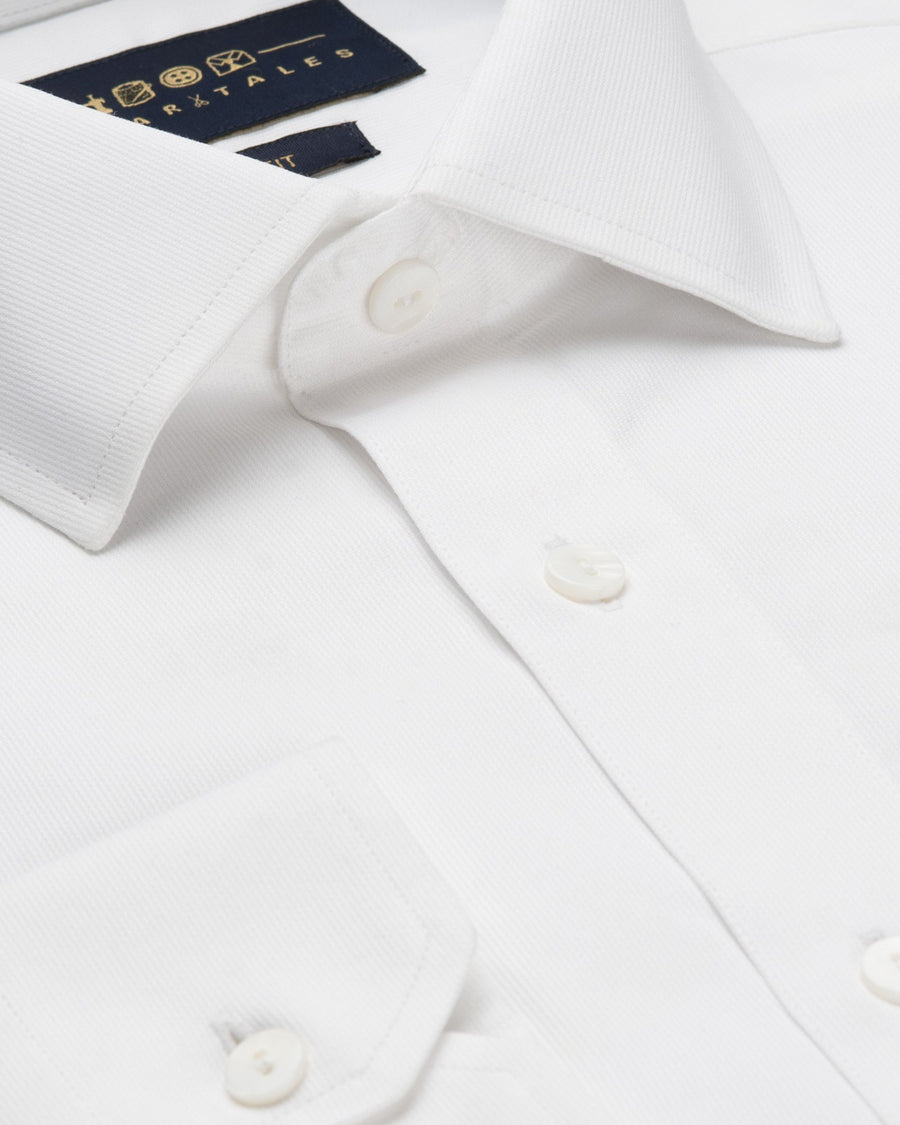 Dress Shirts - Self Stripes - White