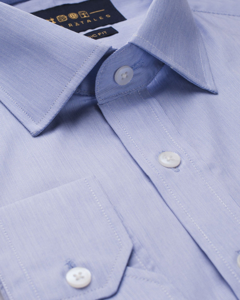 Dress Shirts - Sky Blue Cotton Stripes Shirt