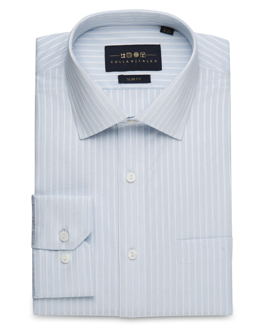 Dress Shirts - Sky Blue Fine Grid Stripe