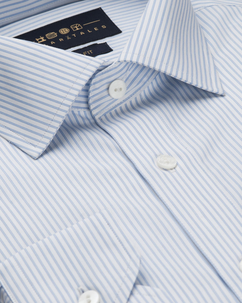 Dress Shirts - White And Sky Blue Stripe
