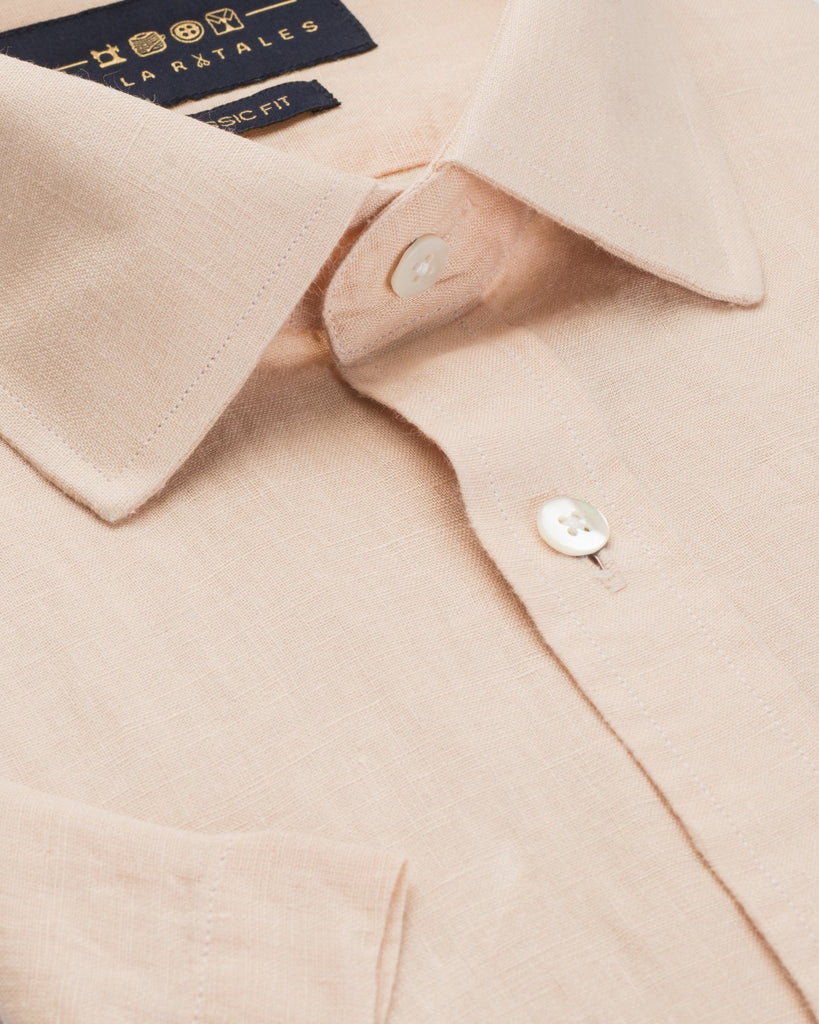 Half Slvees - Melon Orange Linen Half Sleeve Shirt