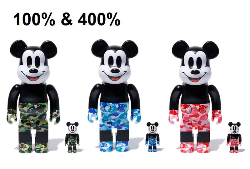 A BATHING APE BE@RBRICK BAPE BEARBRICK MICKEY MOUSE 100% & 400% 3 Colors Set
