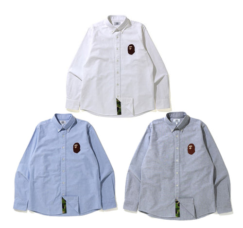 A BATHING APE LARGE APE HEAD OXFORD BD SHIRT - happyjagabee store