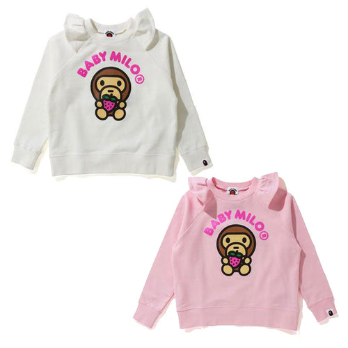 A BATHING APE BAPE KIDS STRAWBERRY MILO CREWNECK New