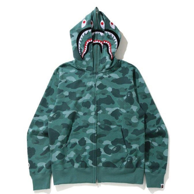 A BATHING APE COLOR CAMO SHARK WIDE FULL ZIP DOUBLE HOODIE