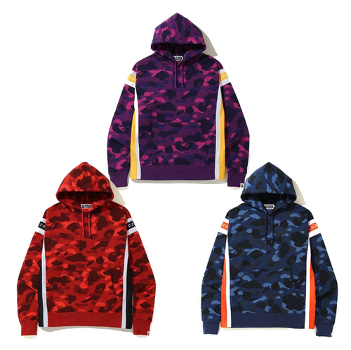 A BATHING APE COLOR CAMO LOGO TAPE PULLOVER HOODIE