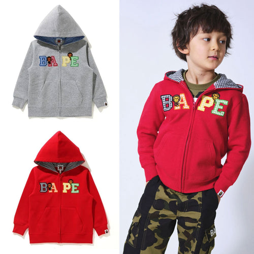 A BATHNIG APE BAPE KIDS MILO GINGHAM CHECK ZIP HOODIE