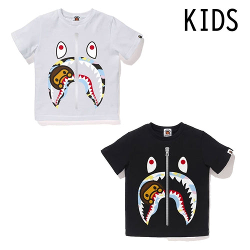 A BATHING APE BAPE KIDS NEW MULTI CAMO MILO SHARK TEE