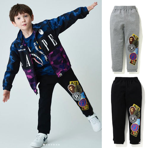 A BATHING APE BAPE KIDS PATCHED PRINT SWEAT