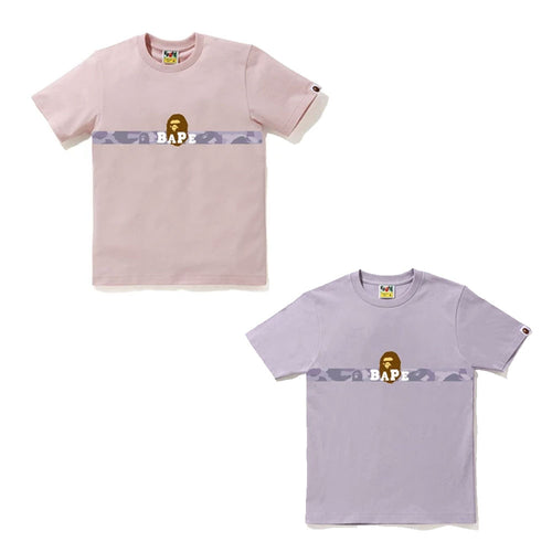 A BATHING APE Ladies' COLOR CAMO TAPE APE HEAD TEE