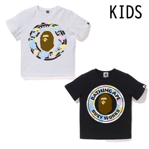 A BATHING APE BAPE KIDS NEW MULTI CAMO BUSY WORKS TEE