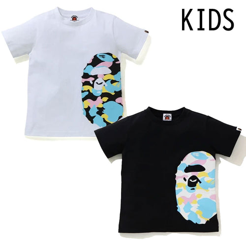 A BATHING APE BAPE KIDS NEW MULTI CAMO SIDE BIG APE HEAD TEE