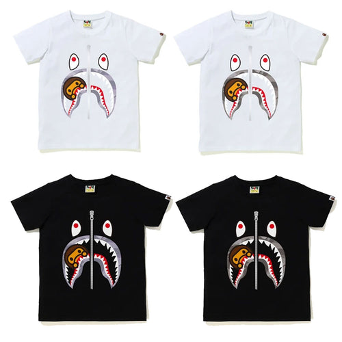 A BATHING APE Ladies' COLOR CAMO MILO SHARK TEE