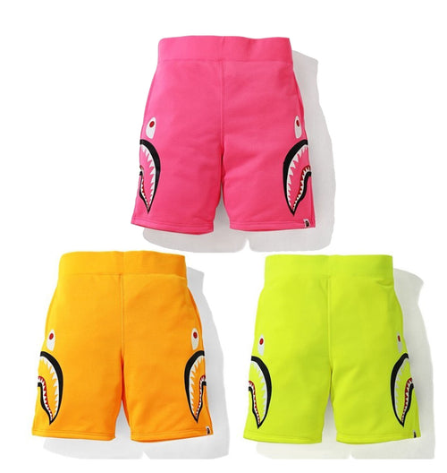 A BATHING APE NEON SHARK SWEAT SHORTS