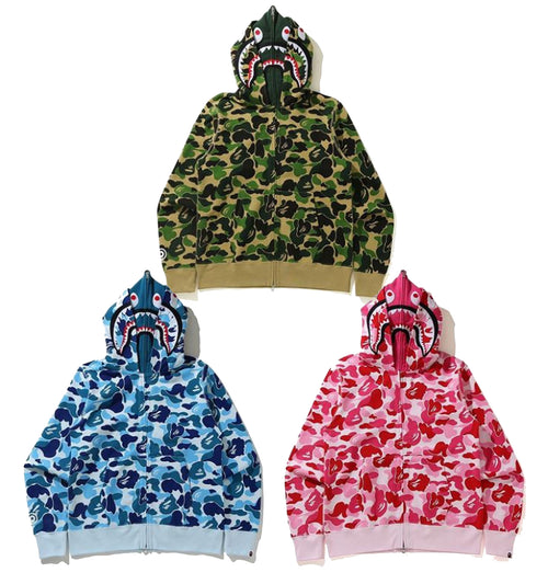 A BATHING APE BIG ABC CAMO SHARK WIDE FULL ZIP DOUBLE HOODIE