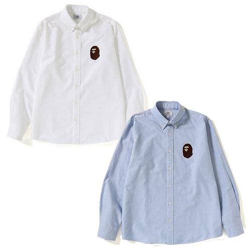 A BATHING APE RELAXED LARGE APE HEAD OXFORD SHIRT - happyjagabee store