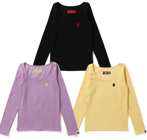 A BATHING APE Ladies' APE HEAD ONE POINT RIB L/S TEE
