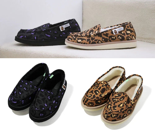 A BATHING APE BAPE X SUICOKE LEOPARD ROOM SHOES