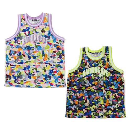 A BATHING APE MULTI CAMO BASKETBALL TANK TOP