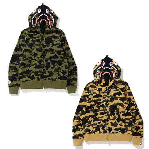 A BATHING APE 1ST CAMO SHARK FULL ZIP DOUBLE HOODIE