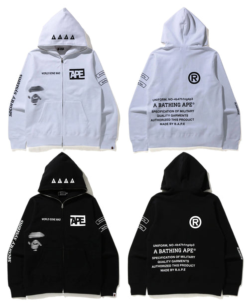 A BATHING APE SECURITY MULTI PRINT FULL ZIP HOODIE