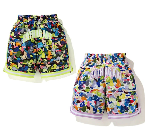A BATHING APE MULTI CAMO WIDE BASKETBALL SHORTS