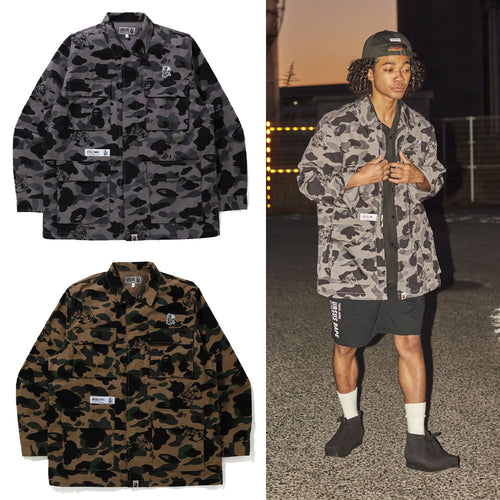 A BATHING APE URSUS CAMO MILITARY SHIRT