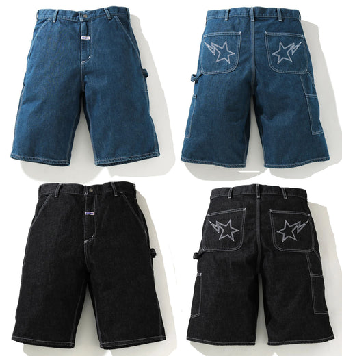 A BATHING APE DENIM PAINTER SHORTS