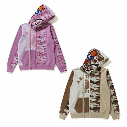 A BATHNIG APE Ladies' DESERT CAMO PANEL SHARK FULL ZIP HOODIE New