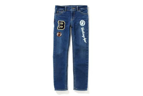 A BATHING APE BAPE KIDS LETTERED SKINNY DENIM PANTS