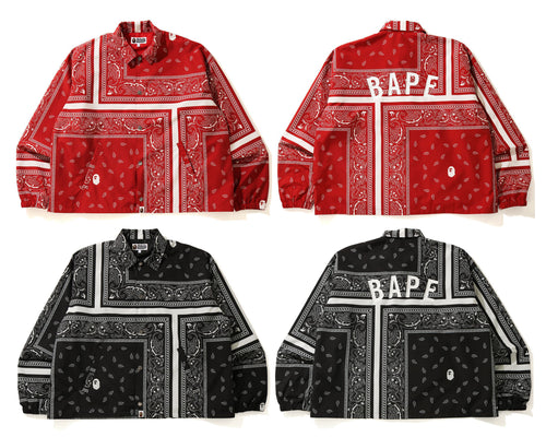 A BATHING APE BANDANA PRINT RELAXED COACH JACKET