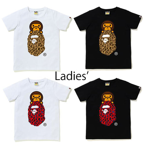A BATHING APE Ladies' BAPE LEOPARD MILO ON APE HEAD TEE