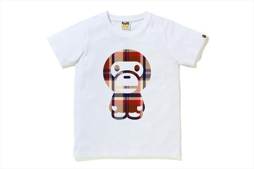 A BATHING APE Ladies' BAPE CHECK BIG BABY MILO TEE