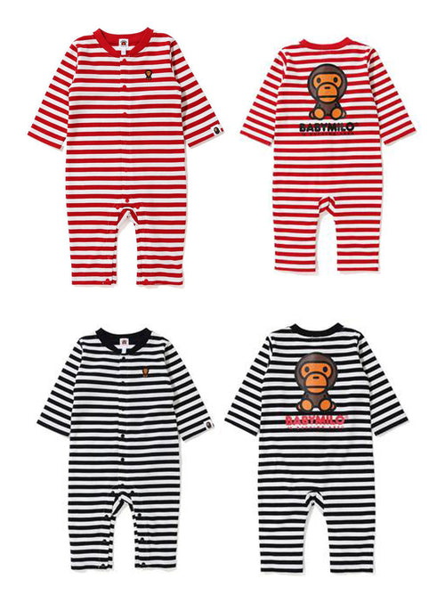 A BATHING APE BAPE KIDS BABY MILO HOOP ROMPERS