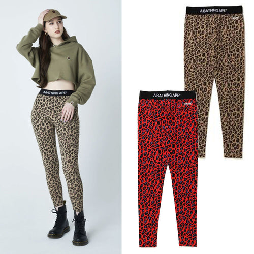 A BATHING APE Ladies' LEOPARD LEGGINGS