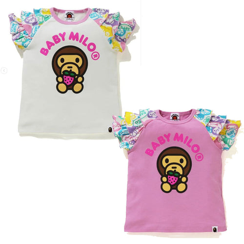 A BATHING APE BAPE KIDS STRAWBERRY MILO FRILL TEE