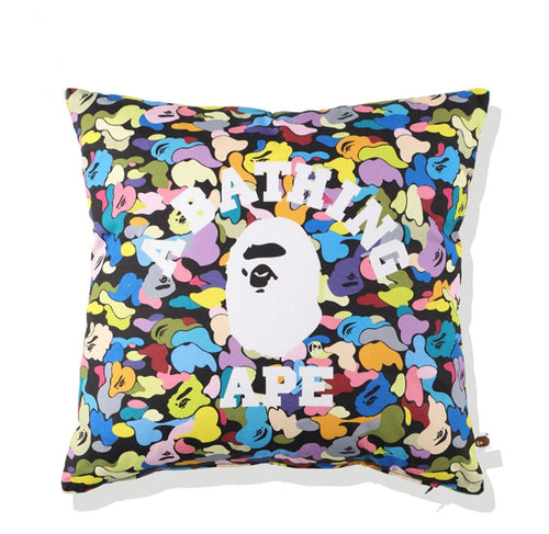 A BATHING APE MULTI CAMO COLLEGE SQUARE CUSHION