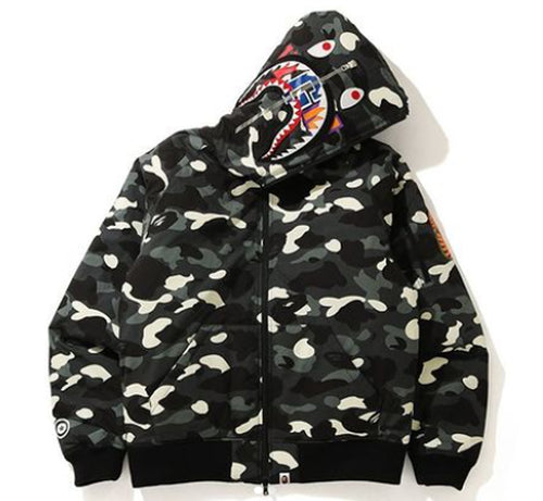 A BATHING APE CITY CAMO SHARK HOODIE DOWN JACKET