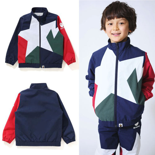 A BATHNIG APE BAPE KIDS STA COLOR BLOCK TRACK JACKET New