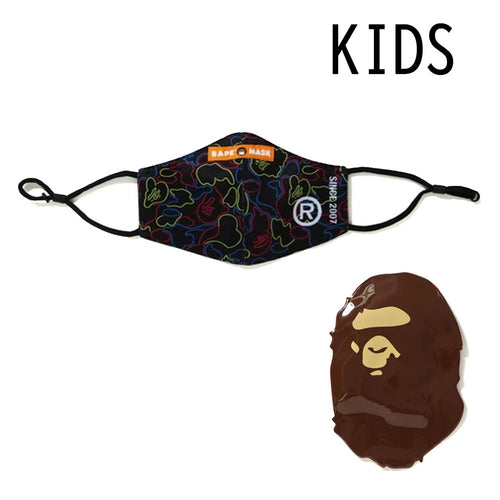 A BATHING APE BAPE KIDS NEON CAMO MASK