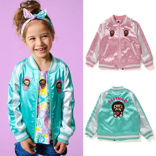 A BATHING APE BAPE KIDS STRAWBERRY MILO SOUVENIR JACKET