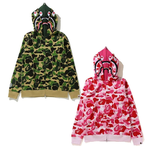 A BATHING APE Ladies' BIG ABC CAMO SHARK FULL ZIP DOUBLE HOODIE