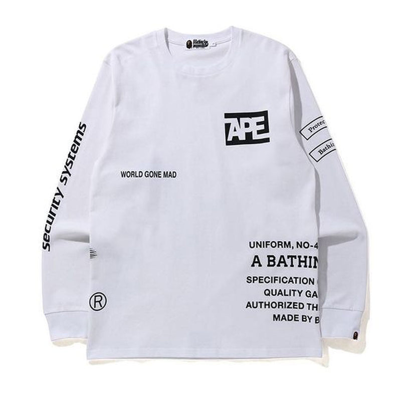 A BATHING APE SECURITY MULTI PRINT L\S TEE