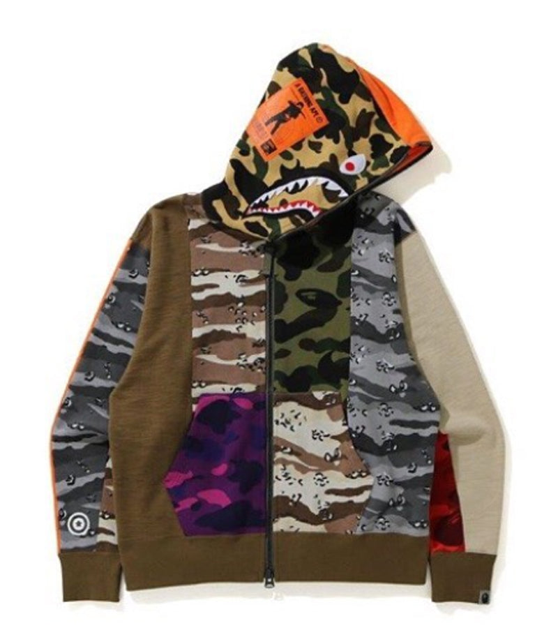 A BATHING APE CRAZY CAMO MAD SHARK RELAXED FULL ZIP HOODIE