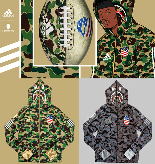 Sale! A BATHING APE adidas & BAPE FOOTBALL COLLECTION SHARK HOODIE BAPE - happyjagabee store