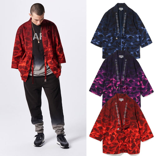 A BATHING APE COLOR CAMO GRADATION KIMONO SHIRT - happyjagabee store