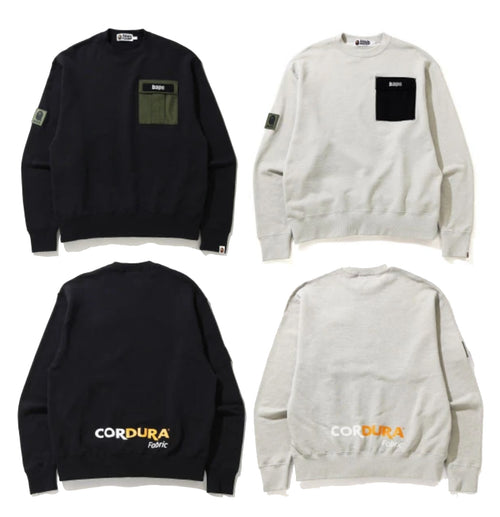 A BATHING APE MILITARY POCKET CORDURA RELAXED CREWNECK