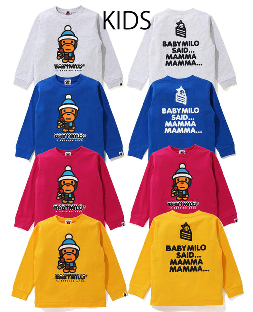 A BATHING APE BAPE KIDS MILO EATING CAKE WINTER L/S TEE